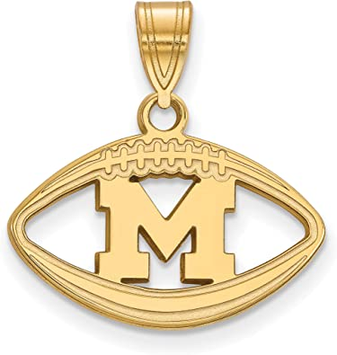 University of Michigan Wolverines School Letter in Football Shaped Pendant in Sterling Silver 14x20mm