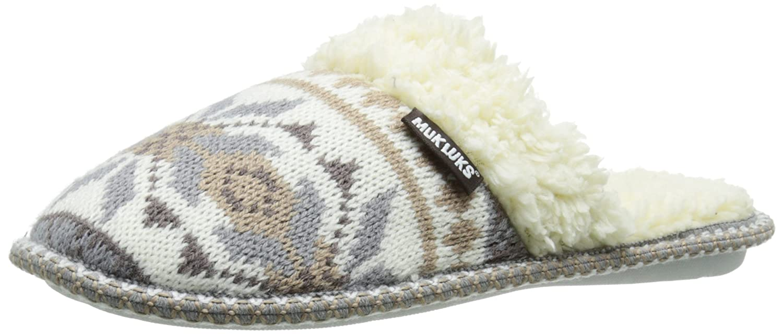 Muk Luks Women's Fairisle Knit Scuff-WNTR White Mule