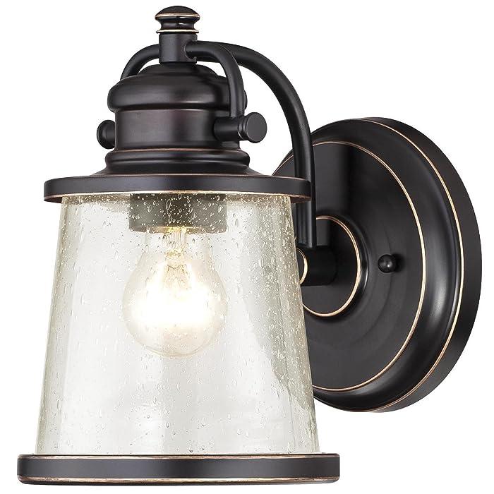 Westinghouse 6204000 Emma Jane One-Light Outdoor Wall Lantern 1-Pack Amber Bronze