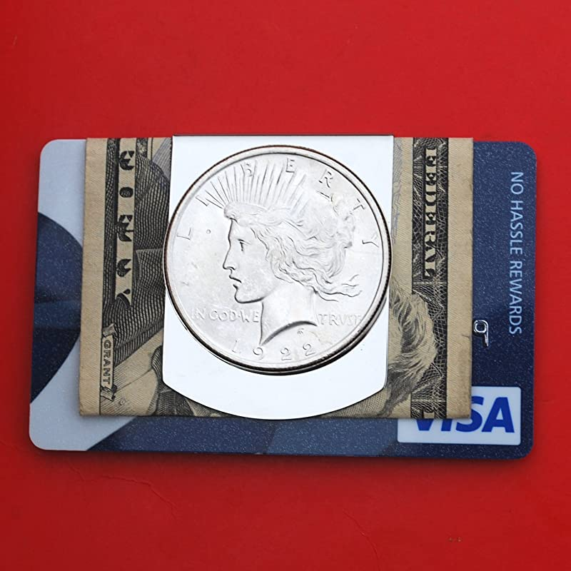 US 1922 Peace Dollar 90/% Silver BU Uncirculated Coin Stainless Steel Large Money Clip NEW Wide Design