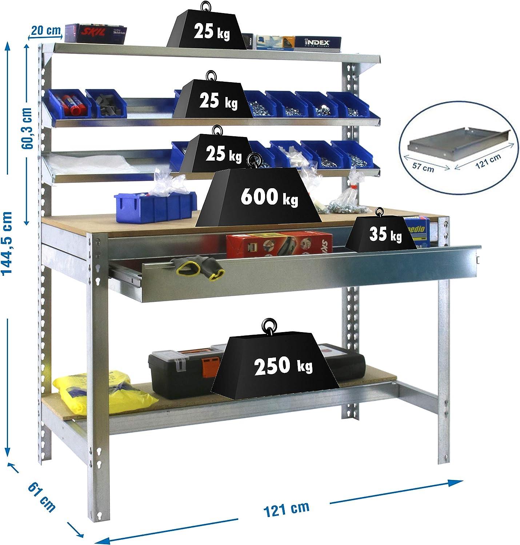 Banco de trabajo resistente mesa de trabajo industrial 400 Kgs de capacidad por estante Banco de trabajo BT1 con caj/ón Simonwork Azul//Madera Simonrack 1445x910x610 mms