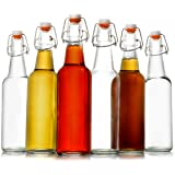 Zuzuro Glass Kombucha Bottles For Home Brewing Kombucha Kefir or Beer - 16 oz Clear Glass Grolsch Bottles case of 6 w/ Easy Swing top Cap w/ Gasket Seal Tight