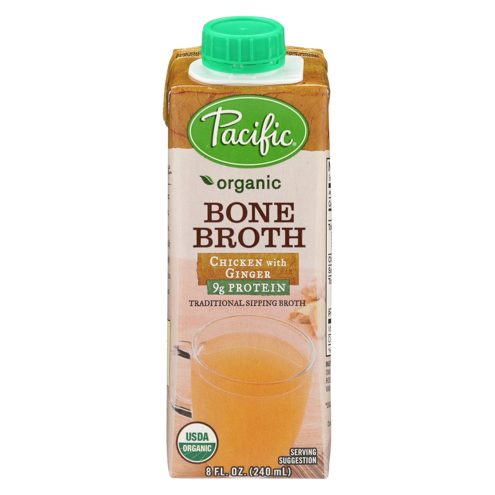 Pacific Natural Foods Bone Broth - Chicken with Ginger - Case of 12 - 8 Fl oz. by Pacific Natural Foods