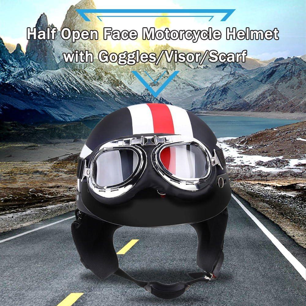 Gecheer Casque de Moto Casque avec Lunettes Visi/ère de Casque de Moto Semi-Ouverte Universel