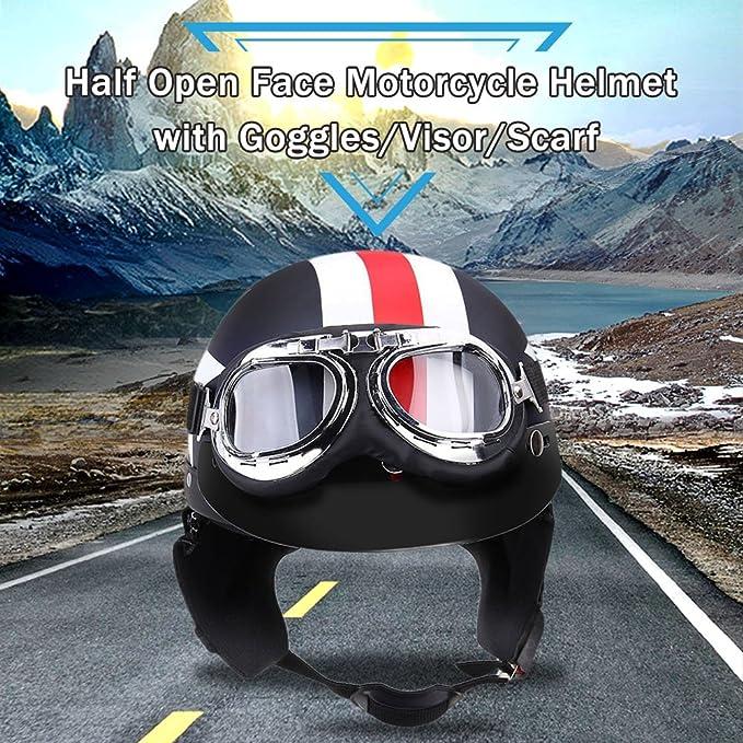 Amazon.es: KKmoon Casco Medio Abierto Protección Cara con Gafas Visera Bufanda para Motocicleta Scooter Bicicleta Touring