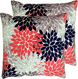 Set of 2 Square 18X18 inch Throw Pillow Cover for Women/Men, Short Plush Pillow Case Cushion Cover for Home Sofa Couch Living Room Car Decor - Flower Burst Petals Floral Pattern Navy Coral Mint Gray