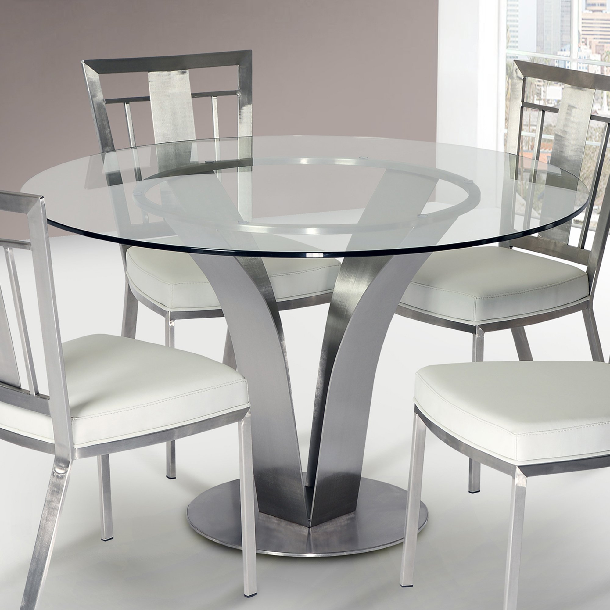 Armen Living LCCLDIB201TO Cleo Dining Table with Clear Glass and Brushed Stainless Steel Finish by Armen Living