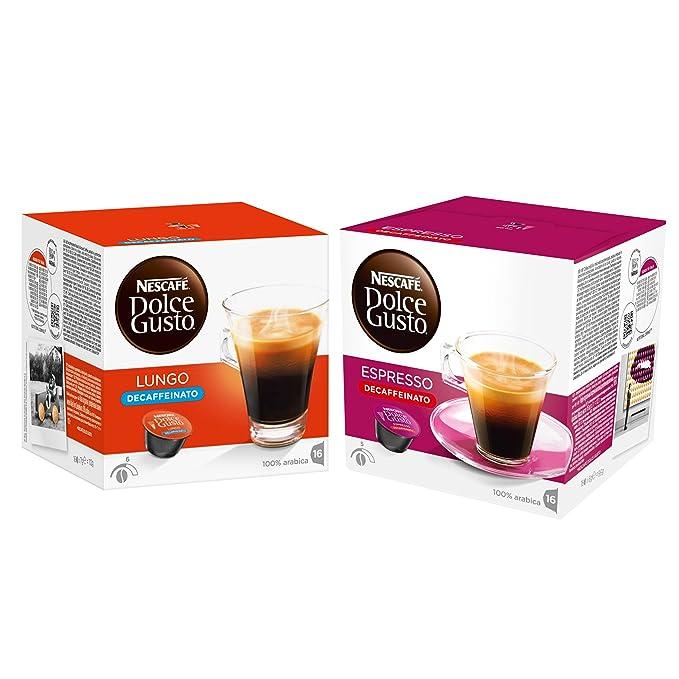 Nescafé Dolce Gusto Set de Cápsulas Descafeinadas, Caffè Lungo y Espresso Descafeinado
