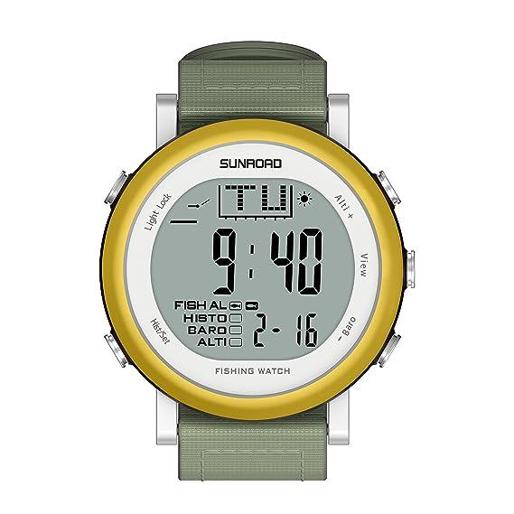 Sunroad fr721 a Hombres - Reloj para la práctica de deportes de pesca digital Cronómetro/altímetro/barómetro/termómetro con correa de nailon reloj (oro) .