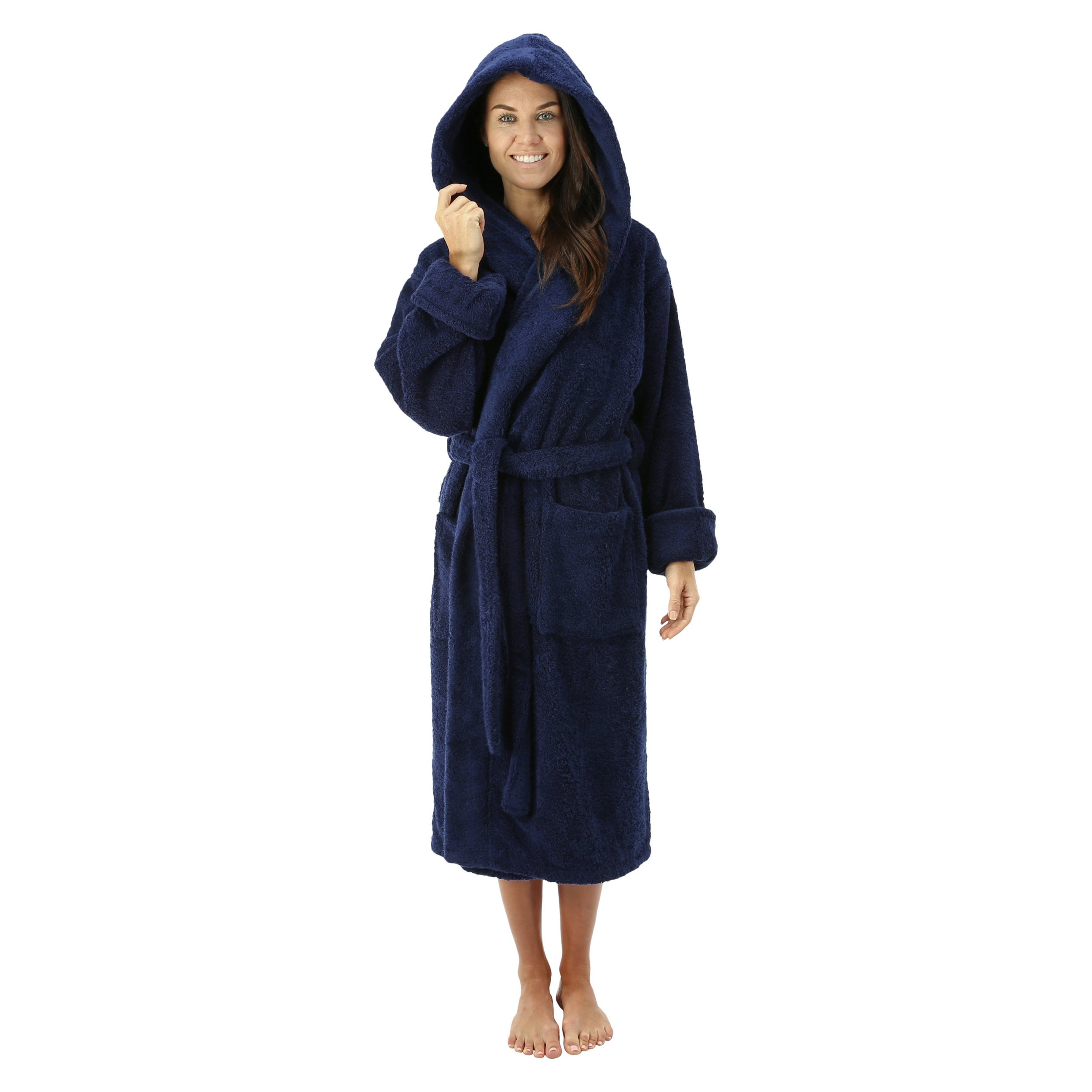 Comfy Robes Personalized Women's Deluxe 20 oz. Turkish Cotton Hooded Bathrobe, XS Navy by Comfy Robes
