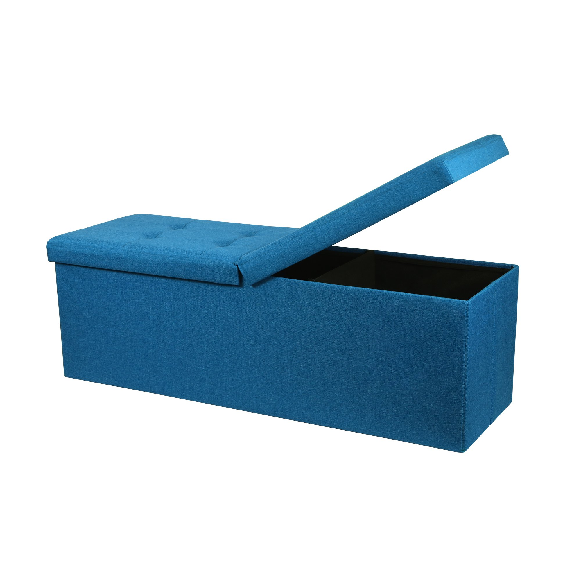 Otto & Ben 45'' Storage Ottoman Folding Upholstered Tufted Bench Foot Rest, Royal Blue