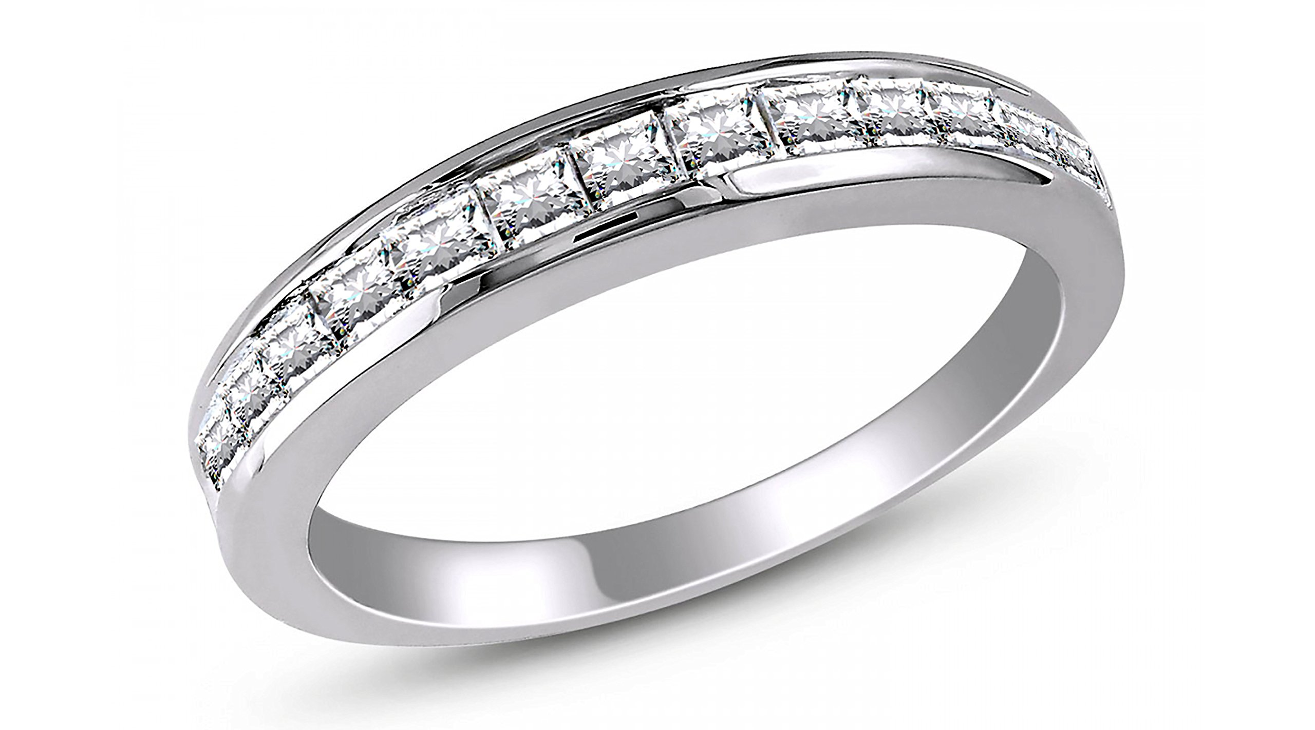 Georgia II Anniversary Band 925 Sterling Silver Ring Princess Cut- Ginger Lyne Collection