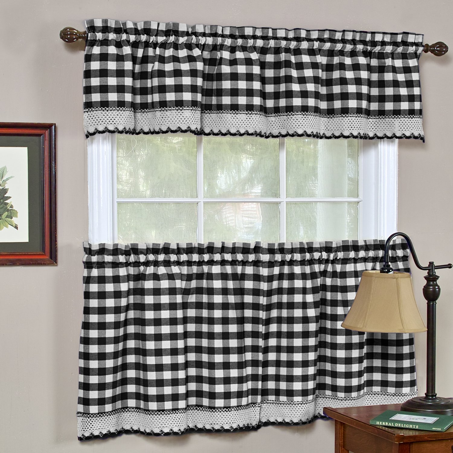 Amazon com achim home furnishings buffalo check kitchen curtain tier black white 58 x 36 inch set of 2 home kitchen