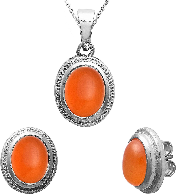 Shine Jewel Colgante de cornalina de Piedra Preciosa Oval Genuino Natural Conjunto Plata de Ley 925