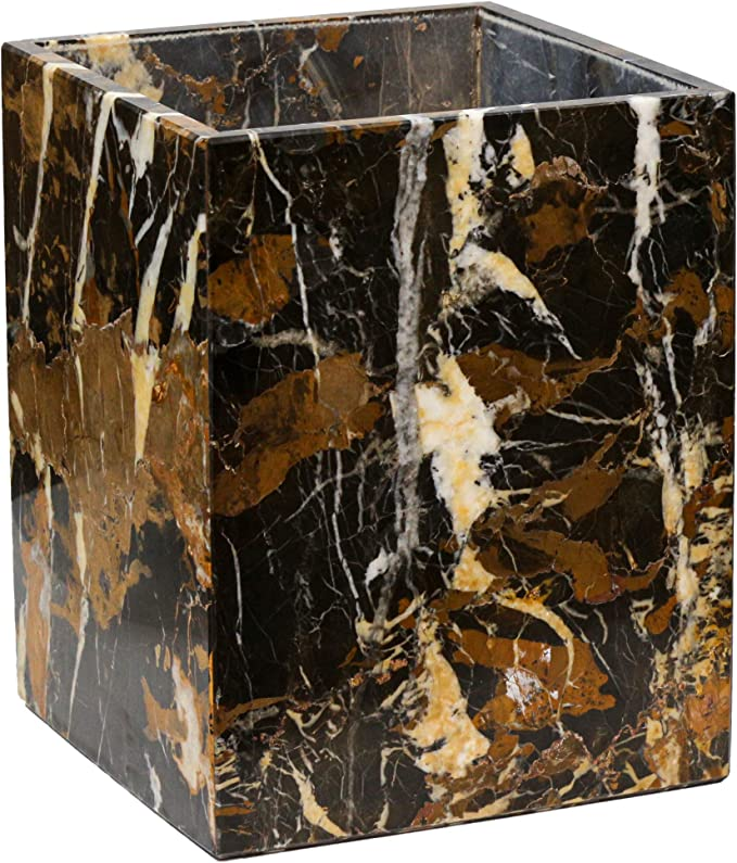 Amazon Com Polished Marble Wastebasket Black Brown Shower And Bathroom Accessory Home Kitchen