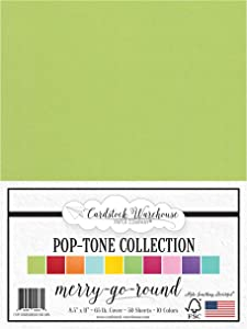 Merry-Go-Round Pop-Tone Multi-Pack Assortment - 8.5 x 11 inch 65 lb Cover Cardstock- 50 Sheets from Cardstock Warehouse