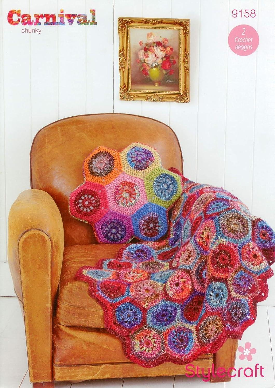 Stylecraft 9158 Crochet patrón manta y cojín en Carnaval ...
