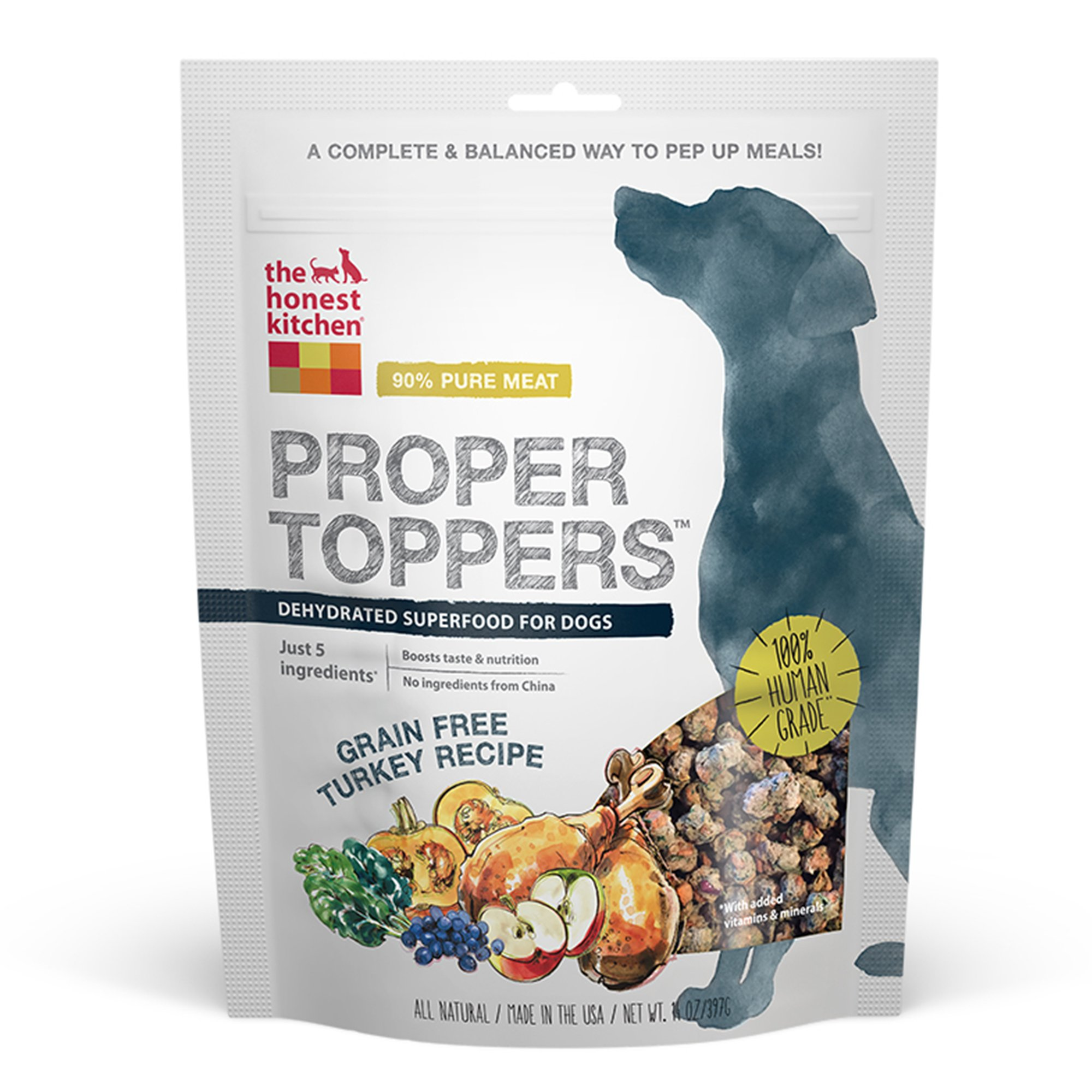 Honest Kitchen The Proper Toppers: Natural Human Grade Dehydrated Dog Superfood, Grain Free Turkey, 14 oz