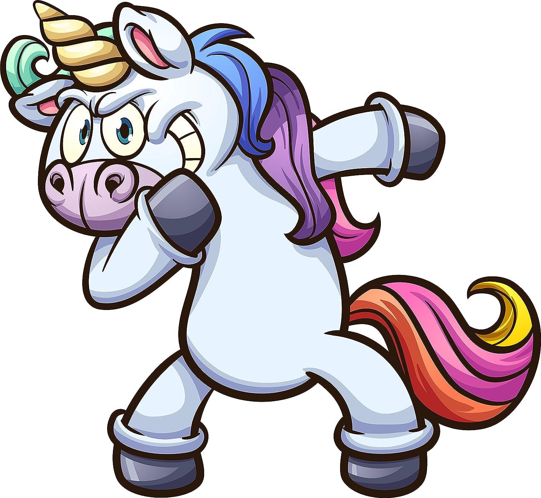 Amazon com funny magical mystical rainbow unicorn dabbing cartoon vinyl decal sticker all sizes automotive