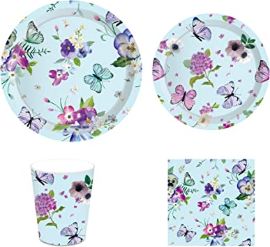 24 36 and Cups Happy Birthday Butterfly Girl Dinner Plates