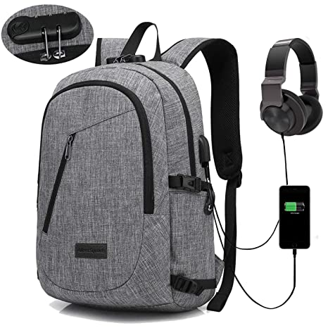 Anti Theft Slim Backpack with USB Charging Port   Headphone   Interface fd53e04af3408