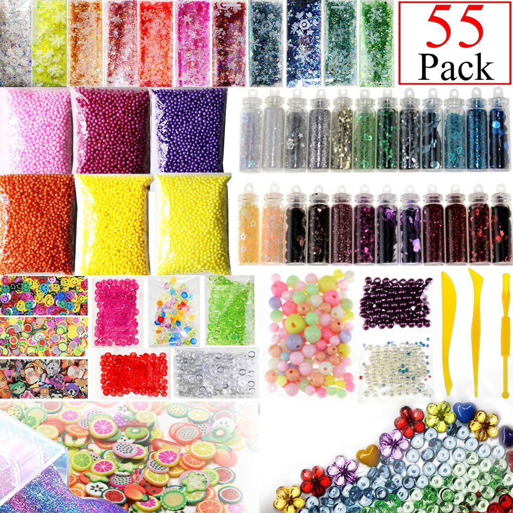 Dsaren Slime Supplies Kit, Slime Tools Fishbowl Beads, Glitter Jars, Foam Balls, Pearls, Fruit Cake Slice, Colorful Sugar Paper Art DIY Craft Accessories Party Decoration 55 Pack (A)