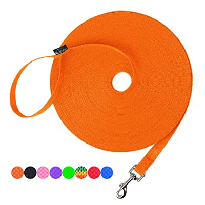 Nylon Training Dog Leash Strong Durable Traction Rope for Small Medium Large Dogs Play 15ft 20ft 30ft 50ft Long Leash Dog//Puppy Lead for Obedience Recall Training 1 Inch Wide Camping or Backyard
