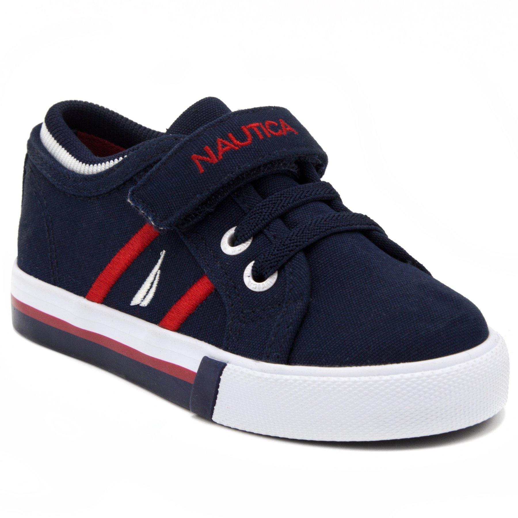 Nautica Toddler Edge View Canvas Sneakers Lace-up and Velcro Casual Shoes-Navy-5