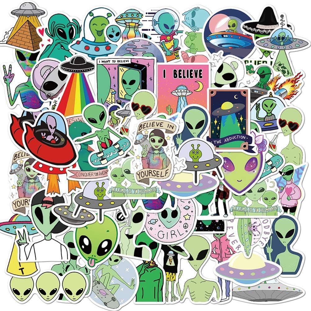 50 Pcs Alien Stickers  ET UFO Waterproof Vinyl Stickers for Water Bottles Laptop Luggage Cup Mobile Phone Skateboard Decals