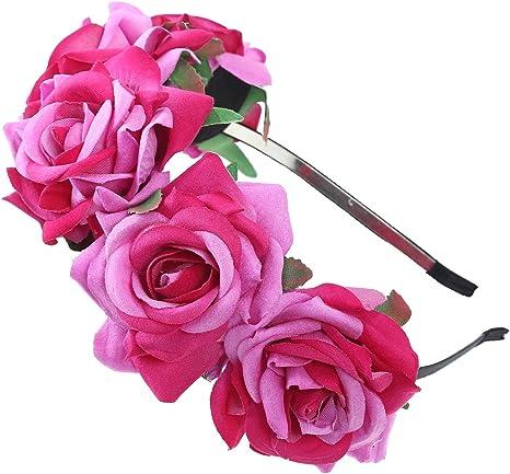 AWAYTR Las niñas Rosa Flores corona diadema–o de la novia Bridemaid diadema flores guirnalda cabeza, estilos de Bohemia Halloween Tocado