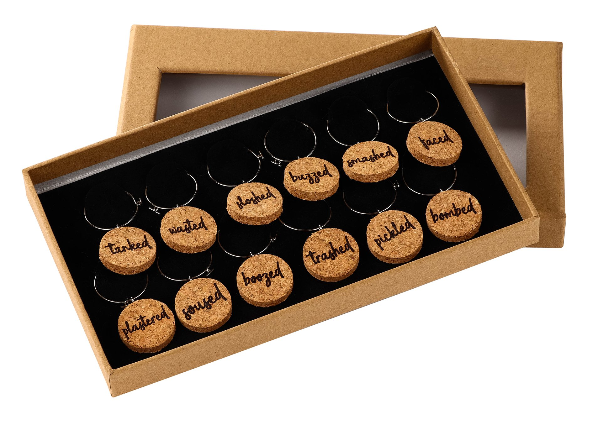 Wine Glass Charms – 12-Piece Wine Charm Drink Markers, Natural Cork Wine Lover, Funny Themed Wine Glass Tags Decorations for Parties, Gatherings, Reunions, 1 x 0.19 inches