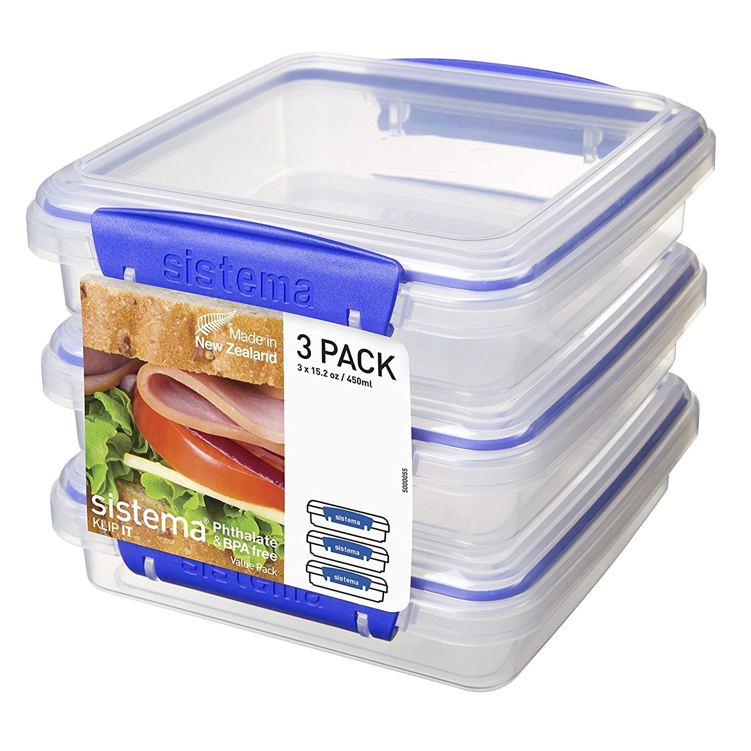 Sistema KLIP IT Collection Sandwich Box Food Storage Container, 15.2 oz./0.4 L, Clear/Blue, 3 Count