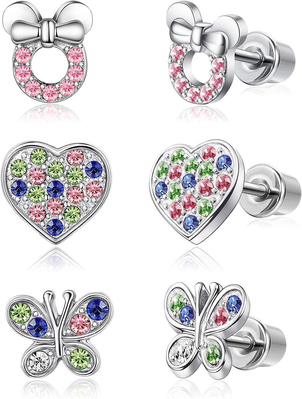 Adramata Colgante de mariposa con forma de corazón de acero inoxidable para mujeres y niños