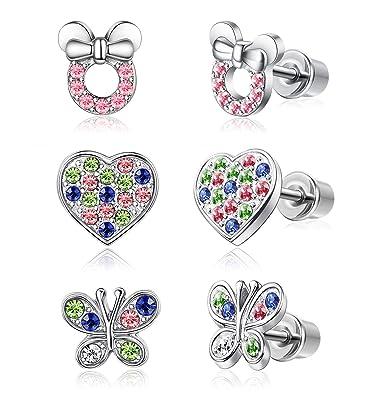 6e7c5a86e Amazon.com: JOERICA 3 Pairs Heart Leverback Earrings for Women Girls Flower  Screwback Stud Dangle Childrens earrings Stainless Steel Set for Kids:  Jewelry