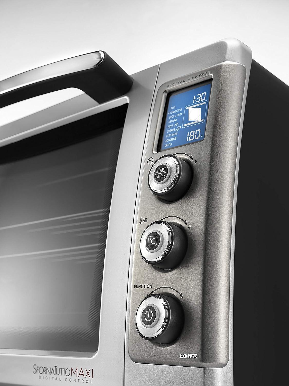DeLonghi DO 32852 Horno de convección, Giratorio, Temporizator digital, 2200 W, 32 L, acero esmaltado, negro y plata