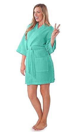 Turquaz Linen Lightweight Thigh Length Waffle Kimono Bridesmaids Spa ... c4b28d6a2