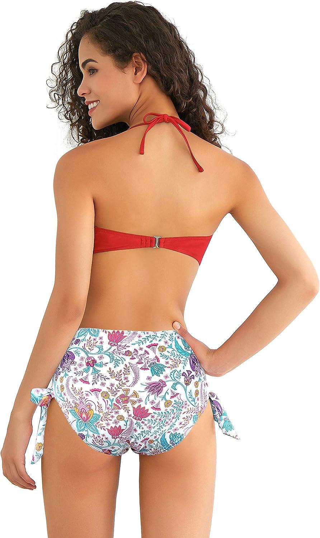 SHEKINI Costume da Bagno Donna Bikini Imbottito Halter Top Bandeau Bikini Regolabile Rimovibile Tracolla Costumi Donna Due Pezzi A Vita Alta Annodata Bikini Fondo