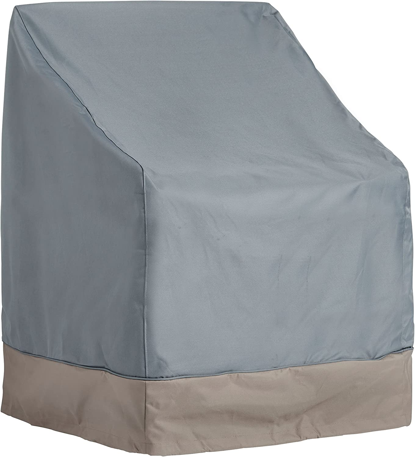 VonHaus Single Patio Chair Cover – The Storm Collection Premium Heavy Duty Waterproof Outdoor Furniture Protection – Slate Grey with Beige Trim – L29.5 x W27.5 x H25-40 inches