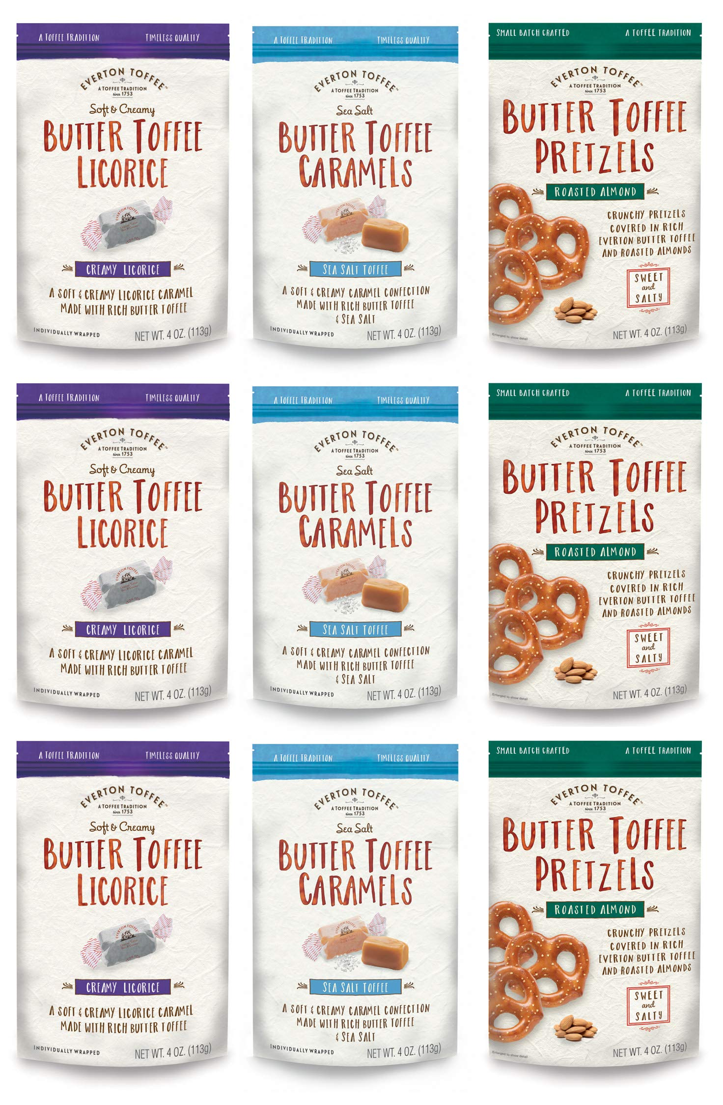 Everton Toffee Butter Toffee Caramels & Pretzels, Taster's Variety Pack (4 oz bag, 9-Pack); Gourmet, Artisan Soft Creamy Caramels - Licorice and Sea Salt Flavors and Roasted Almond Mini Pretzel Snack by Everton Toffee