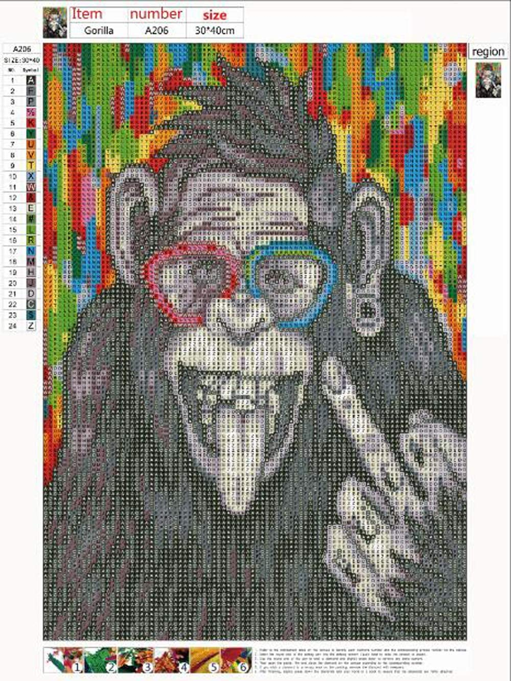 DIY 5D Diamond Painting Full Round Drill Kit Rhinestone Picture Art Craft for Home Wall Decor 12x16In Chimpanzee