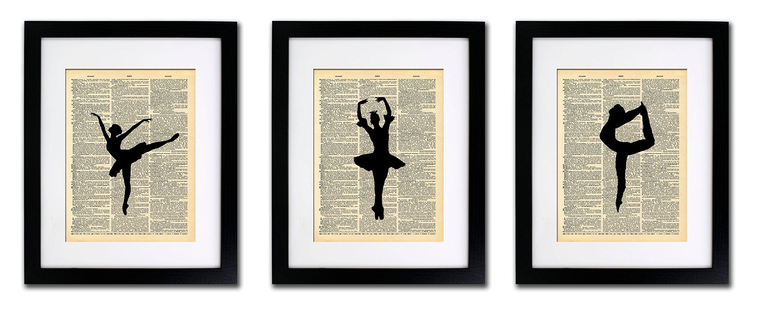 Ballerina Dancers - 3 Print Set - Vintage Dictionary Print 8x10 Home Vintage Art Abstract Prints Wall Art for Home Decor Wall Decorations For Living Room Bedroom Office Ready-to-Frame 3