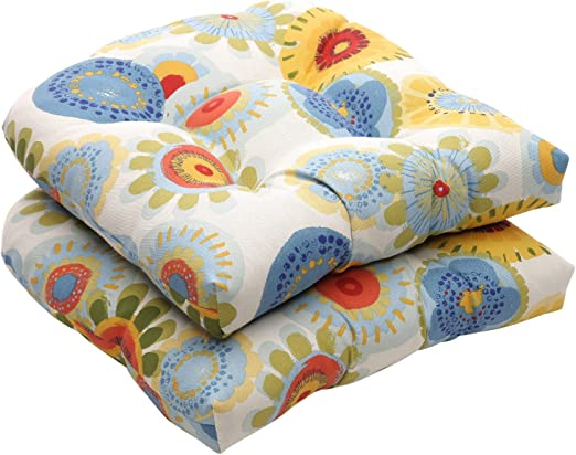 Pillow Perfect Indoor//Outdoor Multicolored Modern Floral Wicker Seat Cushions 2-Pack