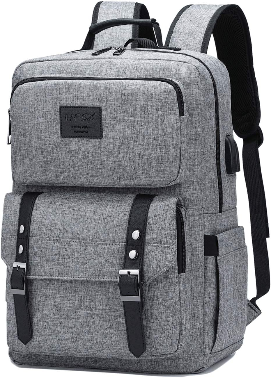 Laptop Backpack Women Men College Backpacks Bookbag Vintage Backpack Book Bag Fashion Back Pack Anti Theft Travel Backpacks with Charging Port fit 15.6 Inch Laptop Grey