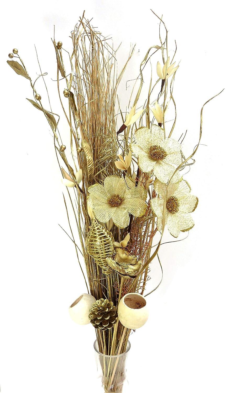 Esclusivo bouquet di fiori artificiali e fiori essiccati, 98 cm, pronto per un vaso (oro) Link Products