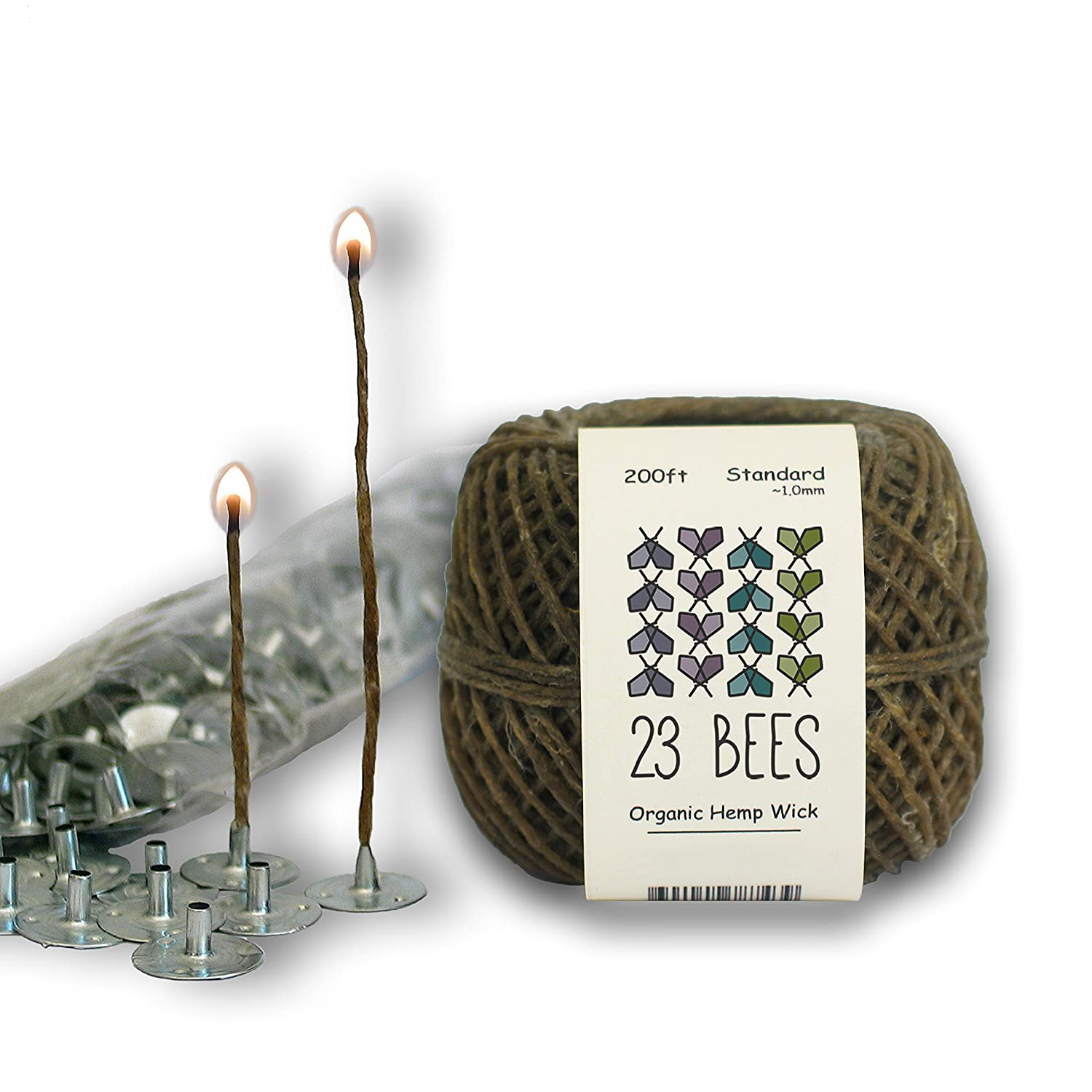 Organic Candle Making Bundle Kit   Organic Hemp Candle Wick + Natural Beeswax + Wick Sustainer Tabs   23 Bees (200ft(Standard) x 200pcs) TB200T200TAB