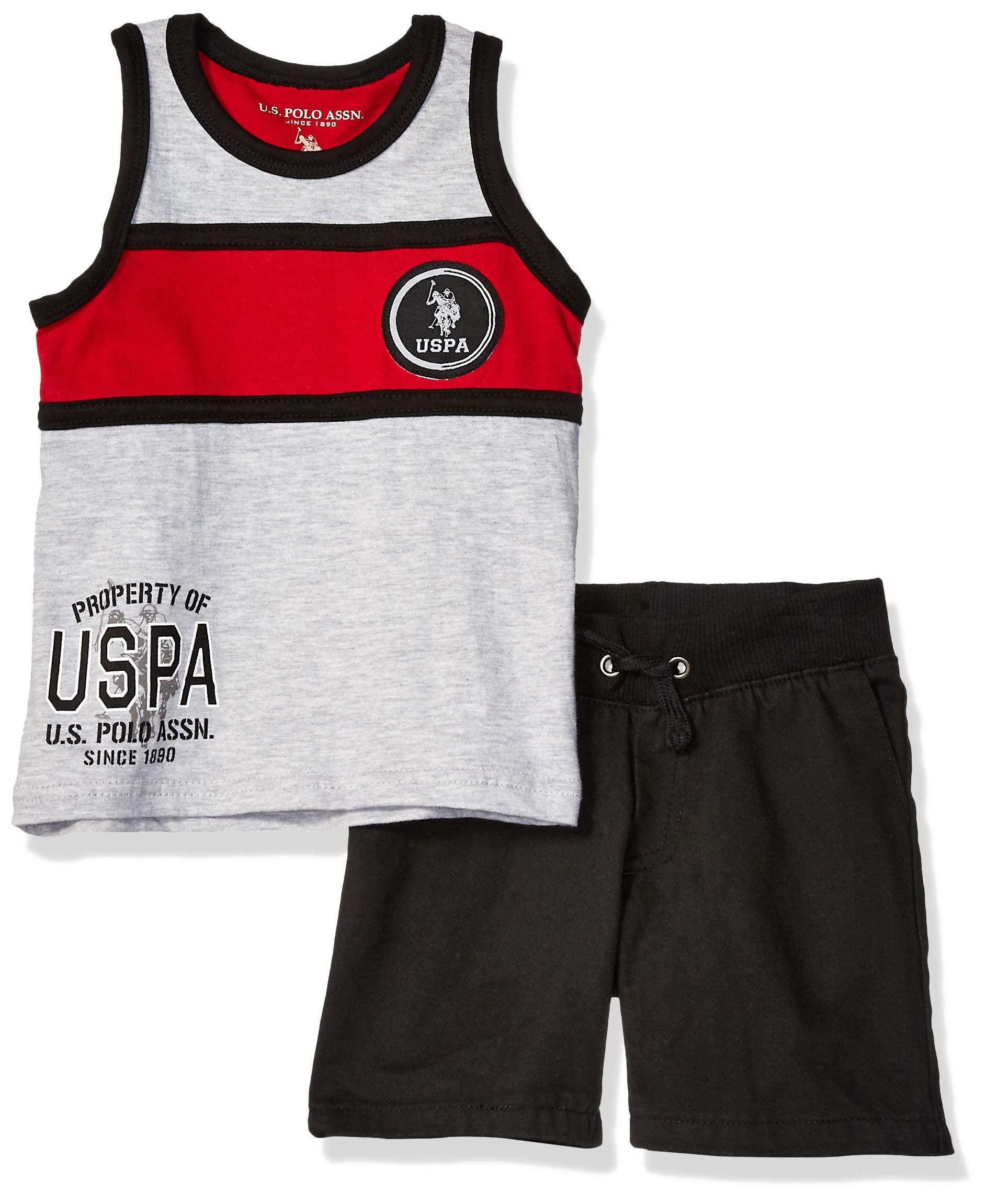 U.S. Polo Assn. Boys' Big 2 Piece Tank Top and Short Set, Red Stripe Black 8