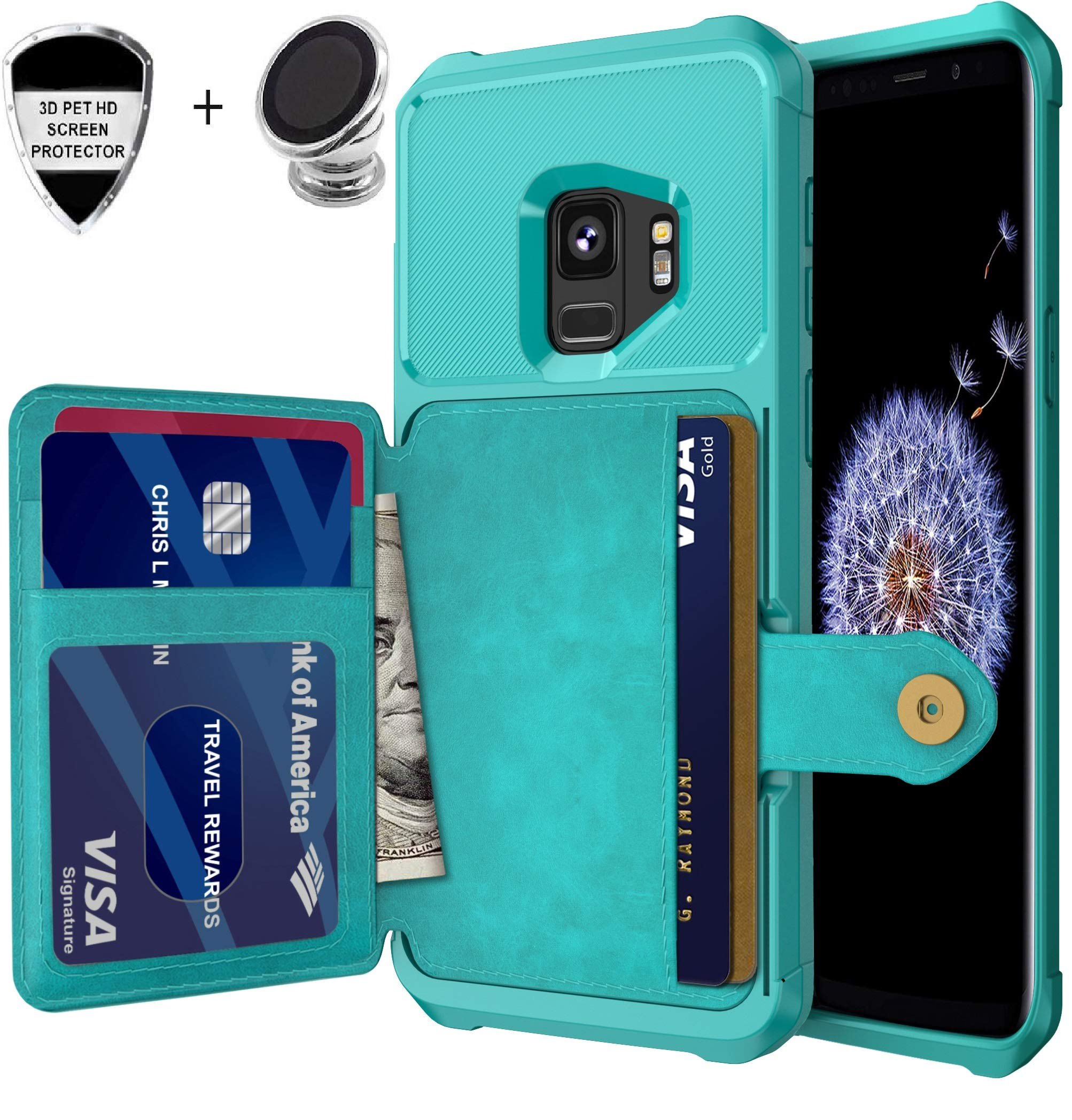 Galaxy S9 Wallet Case, Sumsung S9 Durable Shockproof Slim Magnetic Flip Leather Card Slots Holder Kickstand Protective Case Cover Included Car Phone Mount (Turquoise)