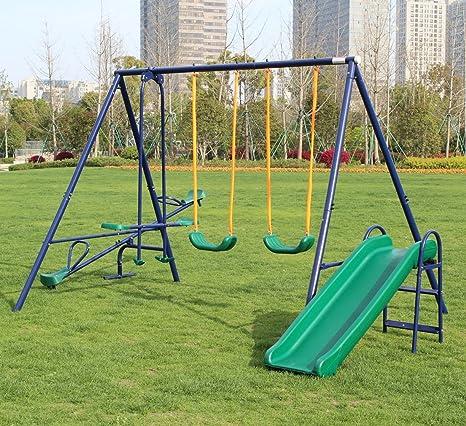 Amazon Com Klb Sport A Frame Metal Swing Set W Slide Toys Games