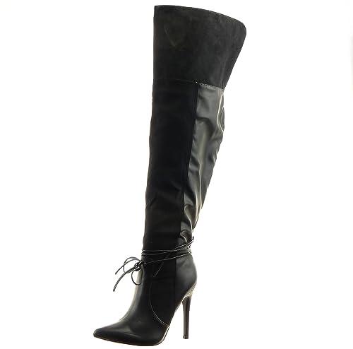 Sopily - Scarpe da Moda Stivali - Scarponi stivali alti stiletto  bi-materiale al Ginocchio ee078f7ae75