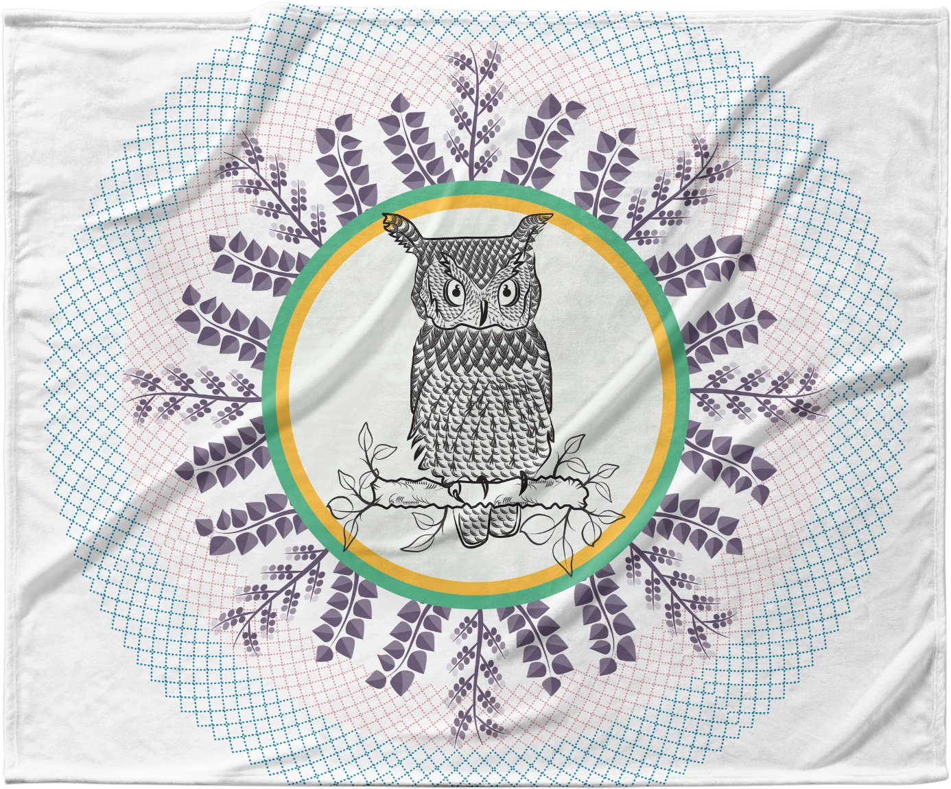 40 x 30 KESS InHouse Famenxt Owl White Purple Fleece Baby Blanket